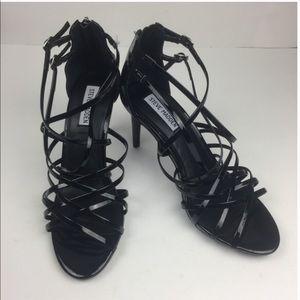 New Steve Madden Fairry Black Patent Sandals Heels